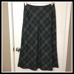 Liz Claiborne Green Maxi Plaid Skirt Size 14